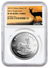 2019 South Africa 1 oz Silver Krugerrand Proof R1 Coin NGC PF70 UC Springbok Label