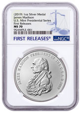 1809-2019 United States Presidential Medal James Madison 1 oz Silver Matte Medal NGC MS70 FR