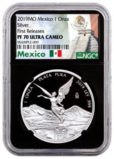 2019-Mo Mexico Silver Libertad Proof 1 Onza Coin NGC PF70 FR Black Core Holder Mexico Label