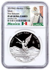 2019-Mo Mexico Silver Libertad Proof 1 Onza Coin NGC PF69 FR Mexico Label