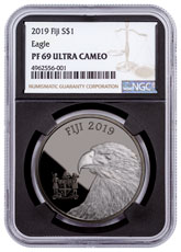 2019 Fiji Blackened Eagle 1 oz Ruthenium Plated Silver Proof $1 Coin NGC PF69 Black Core Holder