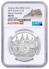 2019 Austria 825th Anniversary of the Austrian Mint - Wiener Neustadt 1 oz Silver €1.50 Coin NGC MS69 Exclusive Austria Label