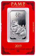 2019 PAMP Lunar Year of the Pig Silver Bar In Assay