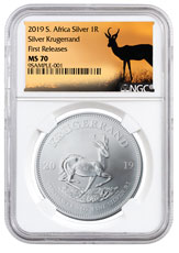2019 South Africa 1 oz Silver Krugerrand 1 Coin NGC MS70 FR Springbok Label