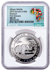 2019 Somalia 1 oz Silver Elephant Sh100 Coin NGC MS70 FR Exclusive Africa Label