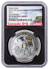 2019 Canada Norse Gods - Thor 1 oz Silver Gilt Proof $20 Coin NGC PF70 UC FR Black Core Holder Exclusive Canada Label