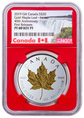2019 Canada 1 oz Silver Maple Leaf - Incuse Gilt Reverse Proof $20 Coin NGC PF69 FR Red Core Holder Exclusive Canada Label