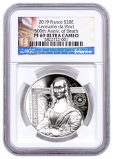 2019 France Mona Lisa High Relief 1 oz Silver Proof €20 Coin NGC PF70 UC Exclusive France Label