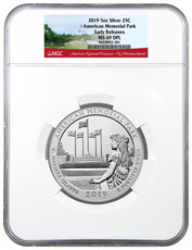 2019 American Memorial Park 5 oz. Silver America the Beautiful Coin NGC MS69 DPL ER