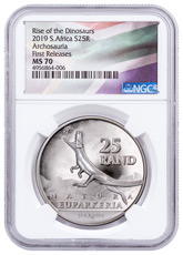 2019 South Africa Natura - Euparkeria 1 oz Silver R25 Coin NGC MS70 FR