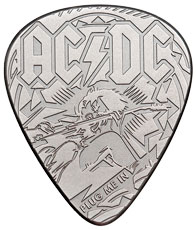 2019 Cook Islands AC/DC Plug Me In Guitar Pick Shaped 1/4 oz Silver Antiqued $2 Coin GEM BU in Display Card