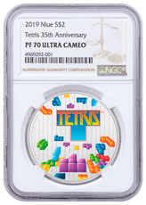 2019 Niue Tetris 35th Anniversary 1 oz Silver Colorized Proof $2 Coin NGC PF70 UC