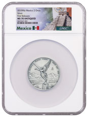 2019-Mo Mexico 2 oz Silver Libertad Antiqued 2 Onza Coin NGC MS70 FR Exclusive Mexico Label
