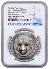 2019 Mongolia Wildlife Protection - Gobi Bear with Swarovski Crystal High Relief 1 oz Silver Antiqued 500 Coin NGC MS70 FR