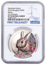 2019 Mongolia Woodland Spirits - Rabbit High Relief 1 oz Silver Colorized Prooflike 500 Coin NGC PF70 FR