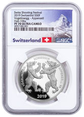 2019 Switzerland Shooting Festival Thaler - Appenzell Silver Proof Fr.50 Coin NGC PF70 UC Exclusive Switzerland Label