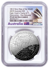 2019 Australia Map of the World - Captain Cook's Tracks Domed 1 oz Silver Proof $5 Coin NGC PF69 FR Australia Label