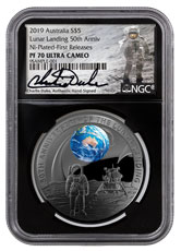 2019 Australia Apollo 11 Moon Landing Domed - Black Nickel Plated 1 oz Silver Proof $5 Coin Colorized NGC PF70 UC FR Black Core Holder Charlie Duke Signed Label