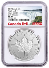 2019 Canada 1 oz Silver Maple Leaf - Incuse $5 Coin NGC MS70 ER
