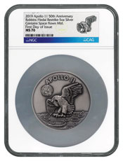 1969-2019 Apollo 11 50th Anniversary Robbins Medals 5 oz Silver with Space Flown Alloy Antiqued Medal Scarce and Unique Coin Division NGC MS70 FDI