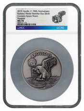 1969-2019 Apollo 11 50th Anniversary Robbins Medals 5 oz Silver with Space Flown Alloy Antiqued Medal NGC MS70 Exclusive Robbins Label