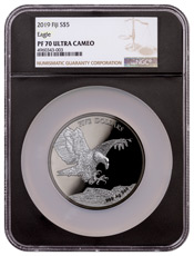 2019 Fiji Blackened Eagle 5 oz Ruthenium Plated Proof $5 Coin NGC PF70 Black Core Holder