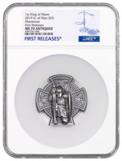2019 Isle of Man Manannan High Relief Cross-Shaped 3 oz Silver Antiqued £5 Coin NGC MS70 FR