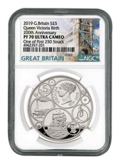 2019 Great Britain 200 Year Commemorative - Queen Victoria Silver Proof £5 Coin Scarce and Unique Coin Division NGC PF70 UC One of First 250 Struck With COA & Storybook Tower Bridge Label