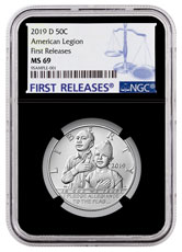 2019-D American Legion 100th Anniversary Commemorative Clad Half Dollar Coin NGC MS69 FR Black Core Holder