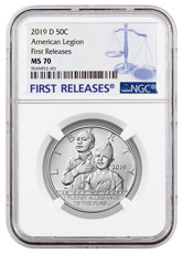 2019-D American Legion 100th Anniversary Commemorative Clad Half Dollar Coin NGC MS70 FR