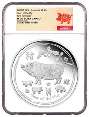 2019-P Australia Year of the Pig 1 Kilo Silver Lunar (Series 2) Proof $30 Coin NGC PF70 UC FR
