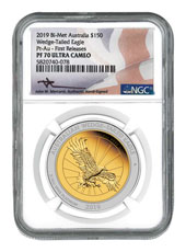 2019 Australia 1.5-oz Bi-metal (Gold/Platinum) Wedge Tailed Eagle $150 Coin Scarce and Unique Coin Division NGC PF70 UC FR Mercanti Signed Australia Flag Label
