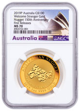 2019-P Australia Gold Nugget - Welcome Stranger $100 Coin NGC MS70 FR Opera House Label