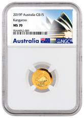 2019-P Australia 1/10 oz Gold Kangaroo $15 Coin NGC MS70 Exclusive Australia Label