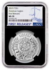 2019-P American Legion 100th Anniversary Commemorative Silver Dollar Coin NGC MS70 FR Black Core Holder