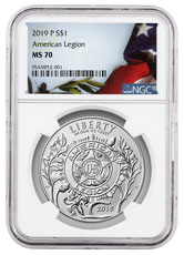2019-P American Legion 100th Anniversary Commemorative Silver Dollar Coin NGC MS70 American Liberty Flag Label