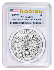 2019-P American Legion 100th Anniversary Commemorative Silver Dollar Coin PCGS MS70 FS Flag Label