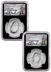 2019-P US Apollo 11 50th Anniversary 2-Coin Commemorative Silver Dollar Set NGC MS70 + PF70 FR Black Core Holder Charlie Duke Signed label