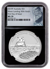 2019-P Australia Apollo 11 Moon Landing 1 oz Silver $1 Coin NGC MS70 FDI Black Core Holder Astronaut Footprint Label