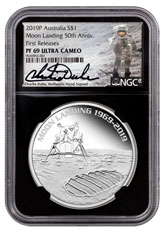 2019-P Australia Apollo 11 Moon Landing 1 oz Silver Proof 1 Coin NGC PF69 UC FR Black Core Holder Charlie Duke Signed label