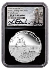 2019-P Australia Apollo 11 Moon Landing 1 oz Silver Proof 1 Coin NGC PF70 UC FR Black Core Holder Charlie Duke Signed label