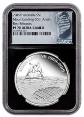 2019-P Australia Apollo 11 Moon Landing 1 oz Silver Proof 1 Coin NGC PF70 UC FR Black Core Holder Astronaut Footprint Label