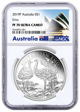 2019 Australia 1 oz Silver Australian Emu Proof $1 Coin NGC PF70 UC Exclusive Opera House Label