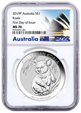 2019-P Australia 1 oz Silver Koala $1 Coin NGC MS70 FDI Exclusive Australia Label