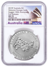 2019-P Australia 1 oz Silver Welcome Stranger Nugget $1 Coin NGC MS70 FR Opera House Label