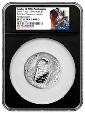 2019-P Apollo 11 50th Anniversary Commemorative 5 oz. Silver Dollar Proof Coin NGC PF70 FR Black Core Holder Astronaut Scholarship Foundation Label