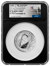 2019-P US Apollo 11 50th Anniversary Commemorative 5 oz. Silver Dollar Proof Coin NGC PF70 Moon Mission Releases Black Core Holder