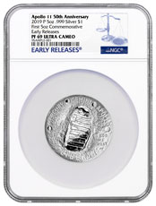 2019-P US Apollo 11 50th Anniversary Commemorative 5 oz. Silver Dollar Proof Coin NGC PF69 ER