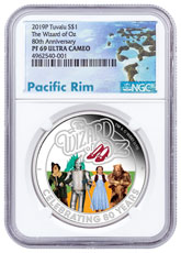 2019-P Tuvalu The Wizard of Oz 1 oz Silver Colorized Proof $1 Coin NGC PF69 UC Exclusive Pacific Rim Label