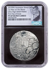 2019 Ascension Island First Man on the Moon Apollo 11 Ultra High Relief Domed 2 oz Silver Proof 1 Crown Coin NGC PF69 UC FDI Black Core Holder Astronaut Footprint Label